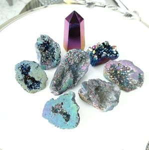 Druzy geode crystals decorative grouping
